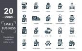 Kleinunternehmen Ikone gesetzt. Es gibt einen Markt, Taxistand, Waschanlage, Eisdiele, Bäckerei, Buchladen, Friseursalon. editierbares Format