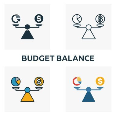 Budget Balance icon set. Four elements in diferent styles from business management icons collection. Creative budget balance icons filled, outline, colored and flat symbols