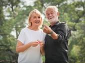 Due anziani felici pensionamento uomo e donna sono a piedi e ne nel parco