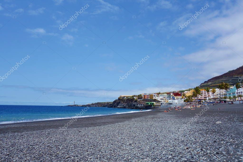 Black lava sand beach in Puerto Naos located near to Los Llanos in Canarias