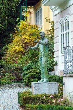 Salzburg, Austria - October 21, 2017: Herbert von Karajan statue in front of his house