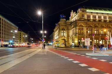 Vienna, Austria - October 22, 2017: Vienna State Opera or Wiener Staatsoper (1709) facade at night