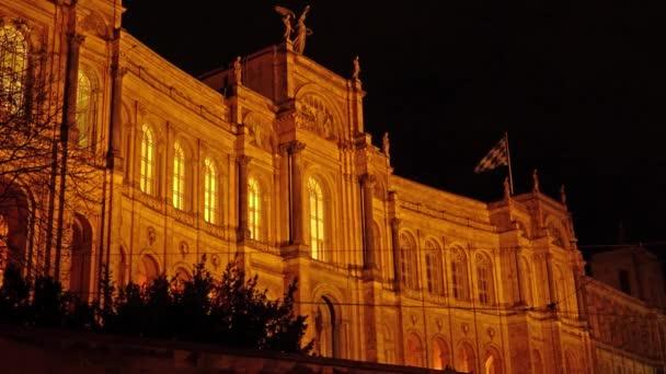 Maximilianeum-Palast (1874), Sitz des Bayerischen Landtags in der Nacht, München, Deutschland