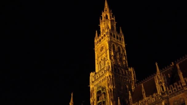 Nachtansicht des neuen Rathaus (Neues Rathaus) am Marienplatz in München Stadt, Bayern, Deutschland