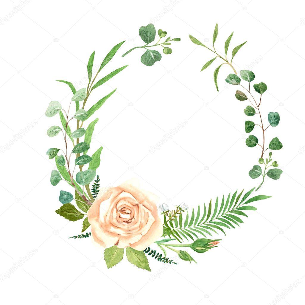 Watercolor Wreath Rose Eucalyptus