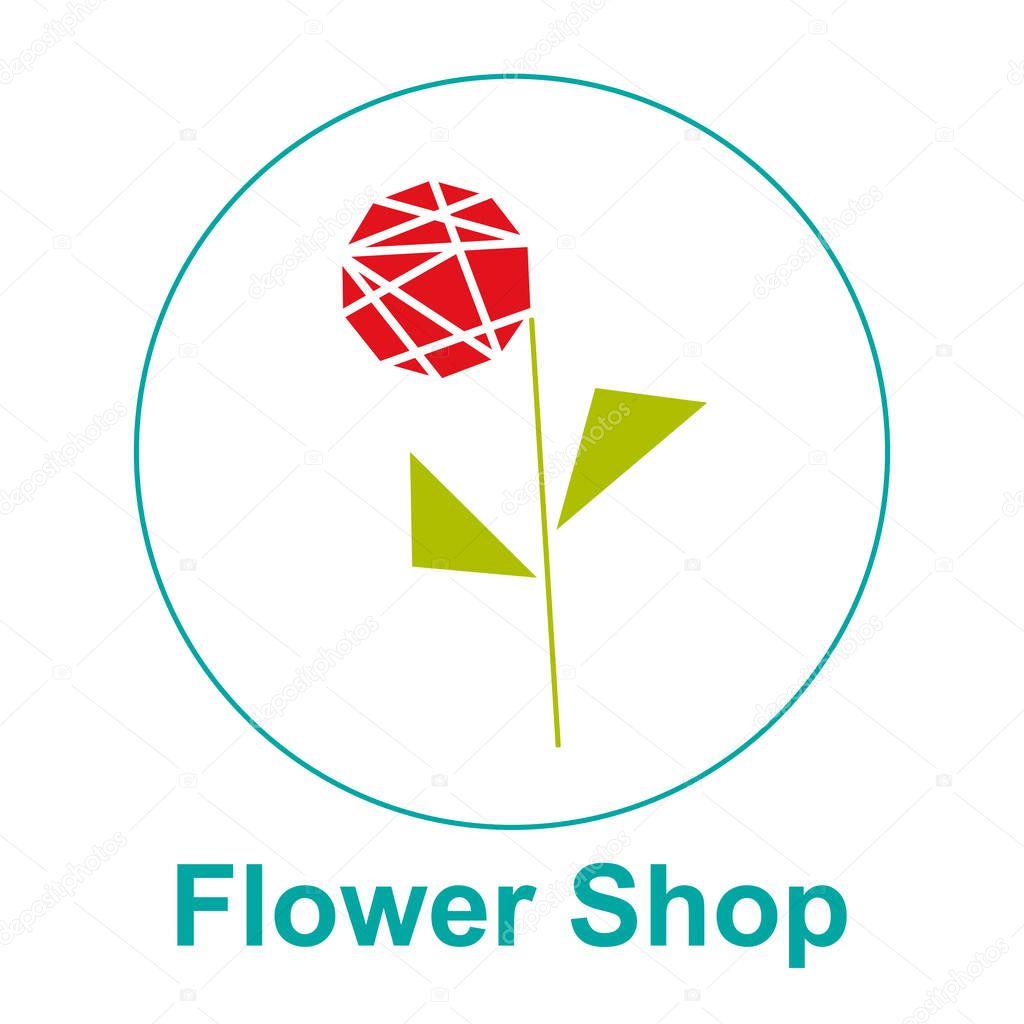 Flower shop logo vector emblem, sticker