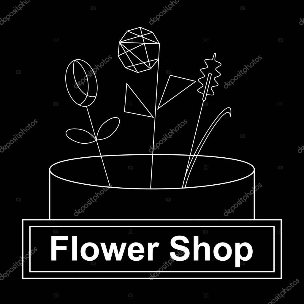 Black and white flower shop brand name, logo desighn minimalism