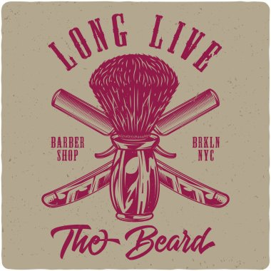 T-shirt or poster design with illustration of shaving brush and razors. Label design with text composition.