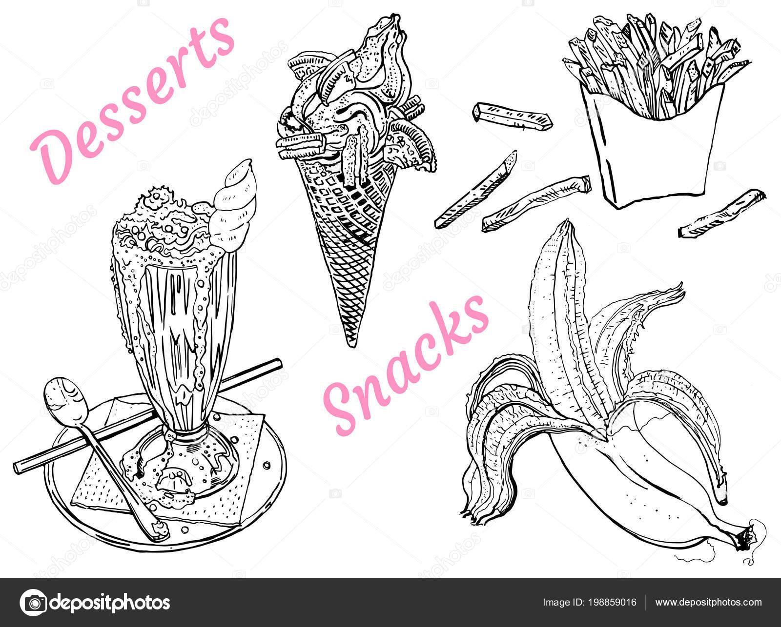 Snacks En Desserts Milkshake Ijs Banaan Franse Frietjes Zeer