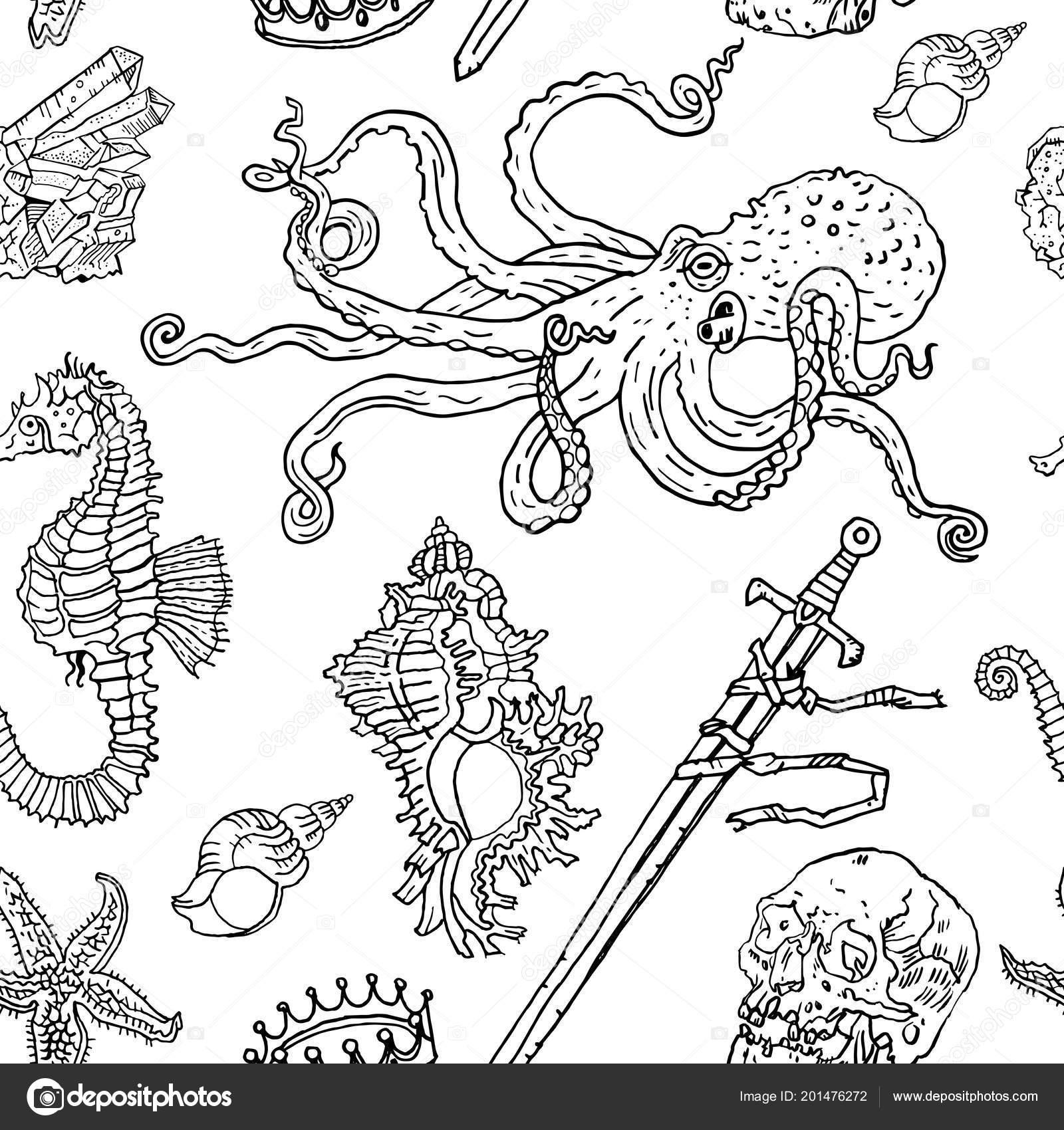 Deniz Seamless Modeli Ahtapot Deniz Hayvanı Kabuğu Deniz Yıldızı
