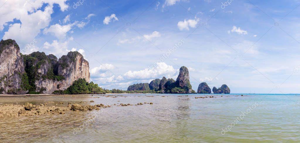 Popular travel tropical karst rocks perfect for climbing Railay Beach, Krabi province, Thailand