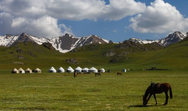 Yurts at Song Kol Lake area, snowy mountains in the background and horses grazing. Cloudy sky.