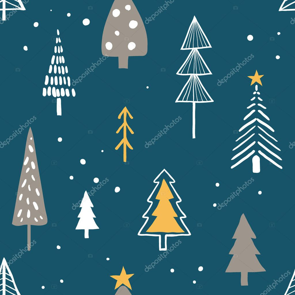 Merry christmas seamless pattern with simple minimalist trees
