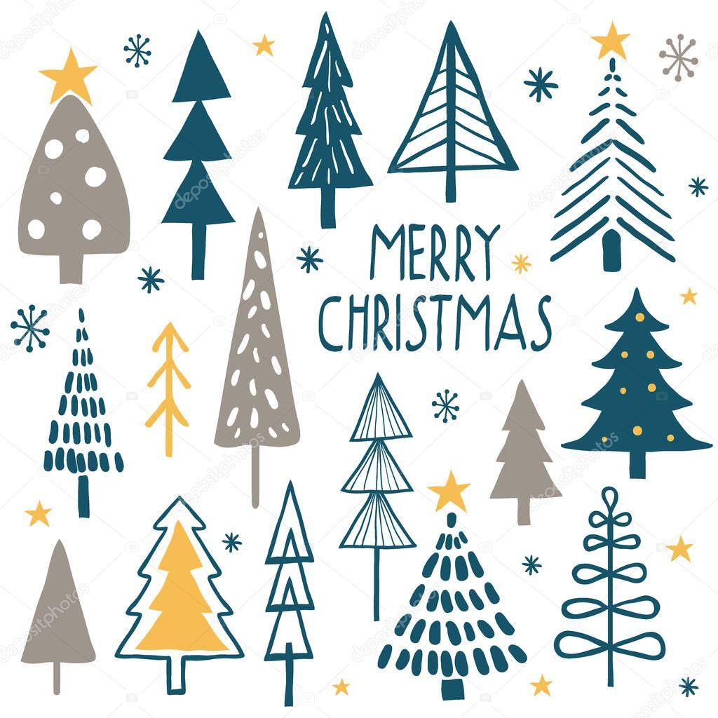 Merry christmas. Simple minimalist trees.