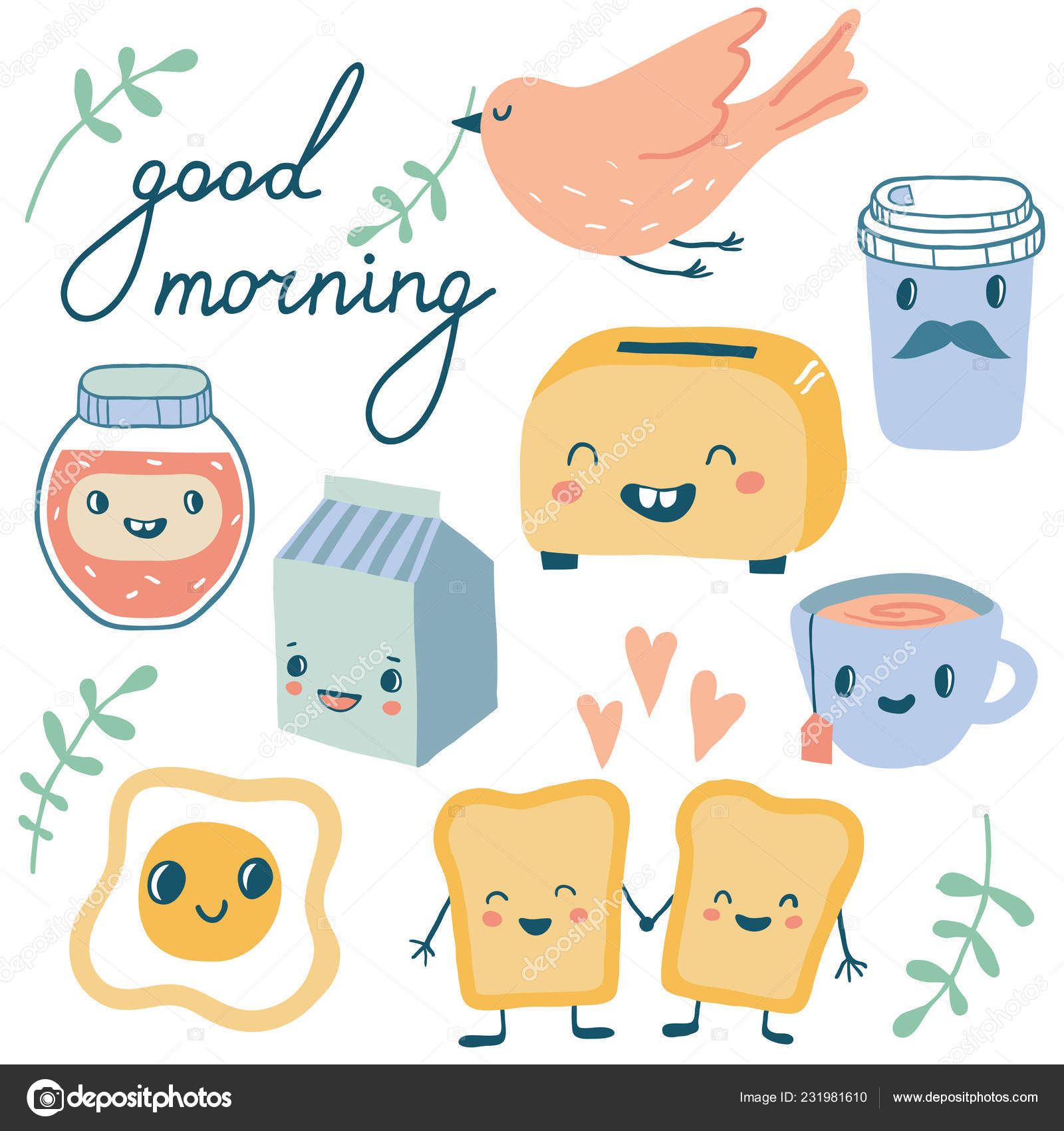 Guten Morgen Lustige Charaktere Frühstück Stockvektor