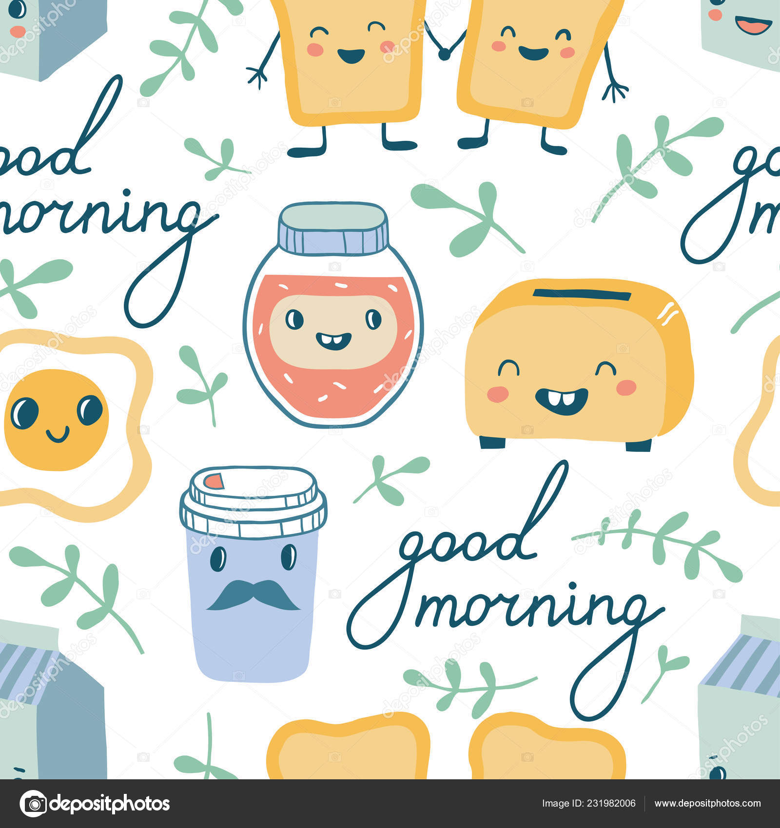 Guten Morgen Lustige Charaktere Frühstück Nahtloses Muster Toasts