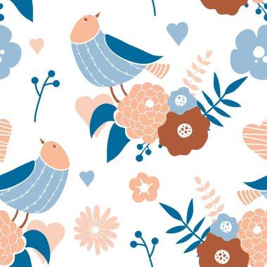 """Картина, постер, плакат, фотообои """"бесшовный рисунок с милыми ручными рисунками каракулей птиц """", артикул 314189440"""