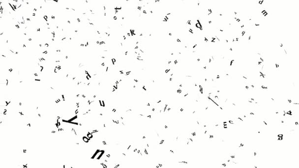 Animation of falling black letters