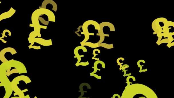 Velká britská libra symboly plovoucí nahoru tvořili animované pozadí