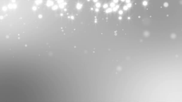 Bílá jiskří částice pozvolně klesající stříbřitá pozadí