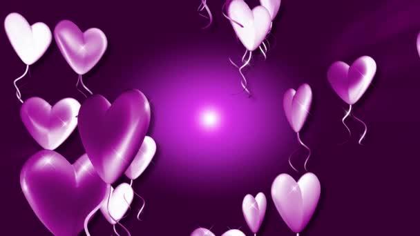 urple heart baloons floating upwards