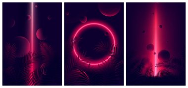 Glowing line red neon reflex on tropical leaves and spheres, Fut