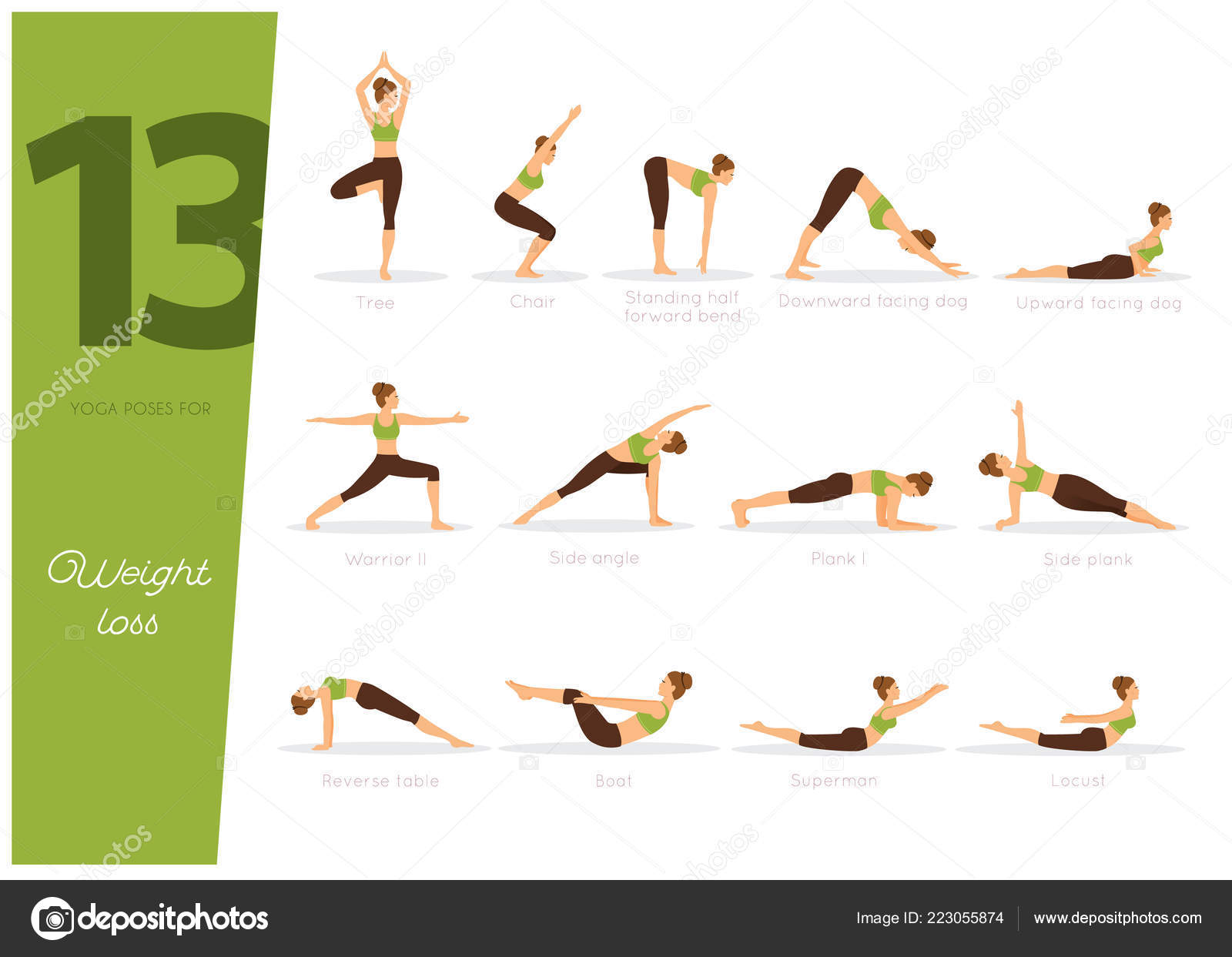 Vector Illustration Yoga Poses Weight Loss Stock Vector Image by ...