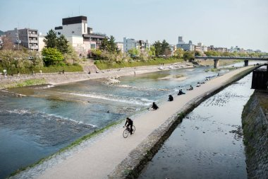 Landscape around Kamo river, popular walking spots for residents and tourists. Located in Gion ward, Kyoto, Japan