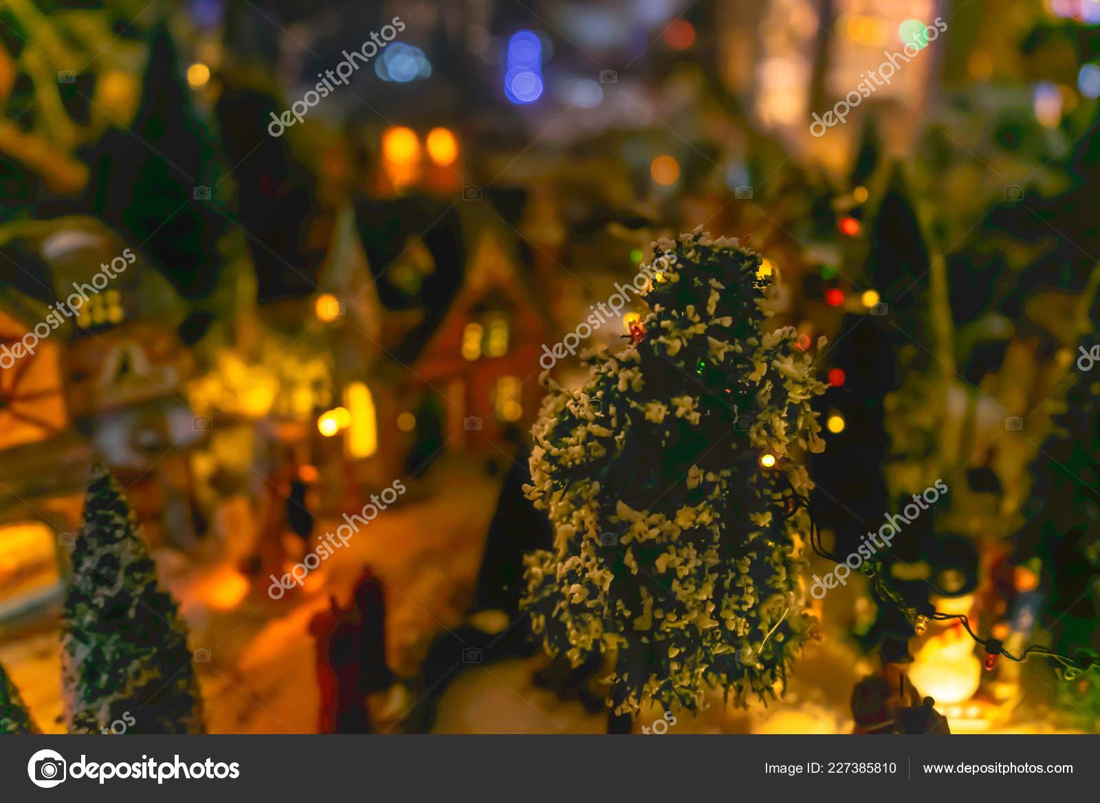 Cozy Miniature Christmas Village Decorations Snow Flocked Trees Town Buildings — Stock Photo