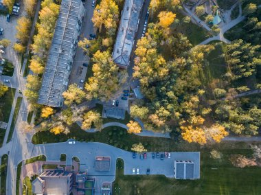 Aerial view of strung five-story buildings in the city center among tall trees with green and yellow leaves with cars on a parking on a sunny autumn day at sunset