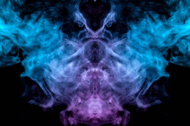 The mystical and mysterious pattern of evaporating blue smoke on a black background is similar in design to an alien head and eyes, rising to the top in pink. T-shirt print.