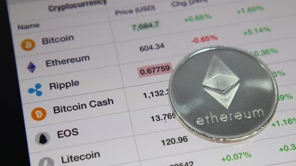 Közelről ezüst Ethereum Cryptocurrency listában oszlop sorának Bitcoin, a Ethereum és a gyűrűző árfolyamdiagram Tablet. A biztonsági piacon. Sebesség-idő.