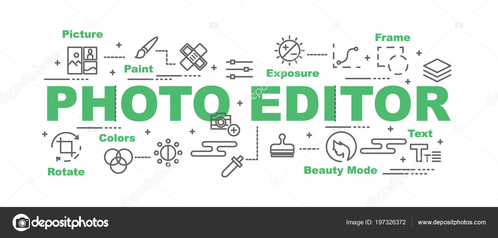 Photo Editor Vector Banner Design Concept Flat Style Icons — Stock ...