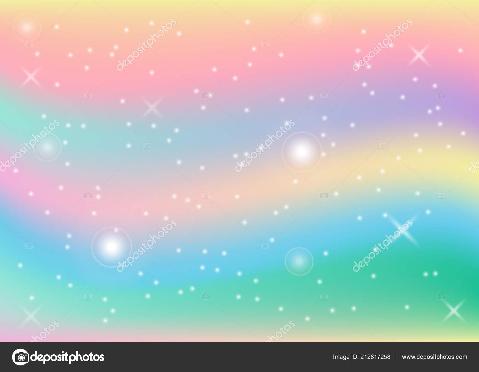 Rainbow Pastel Background Unicorn Trendy Colors Vector ...