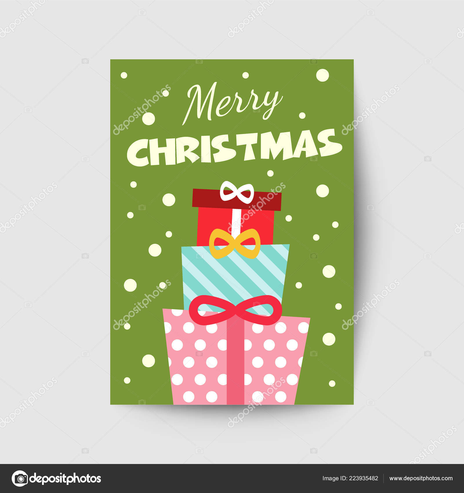 Merry Christmas Greeting Card Template Vector Design Stock Vector
