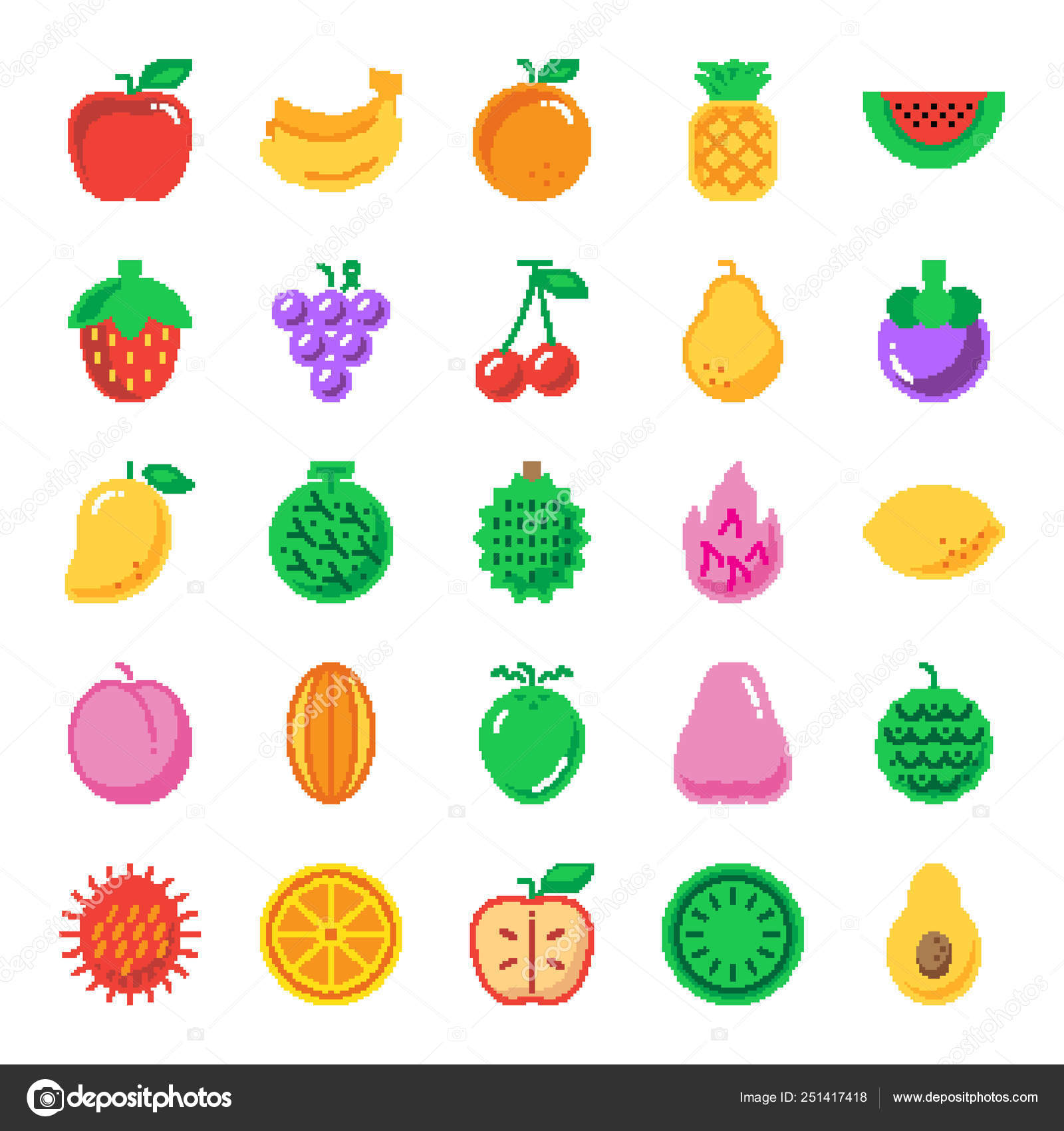 ᐈ 8 Bit Fruit Stock Vectors Royalty Free 8 Bit Fruit