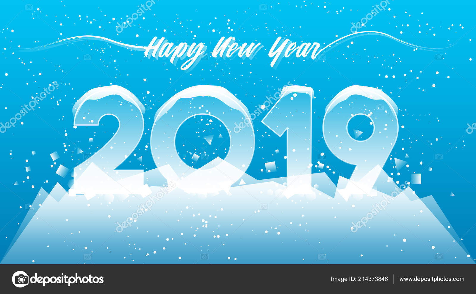 2019 happy new year card design 2019 winter season concept stock vector