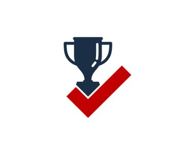 Winner Check Trophy Icon Logo Design Element
