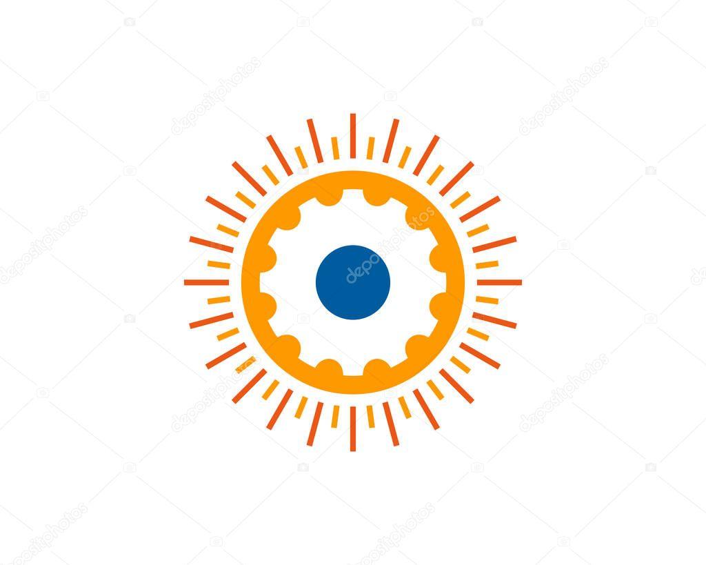 Gear Sun Logo Icon Design