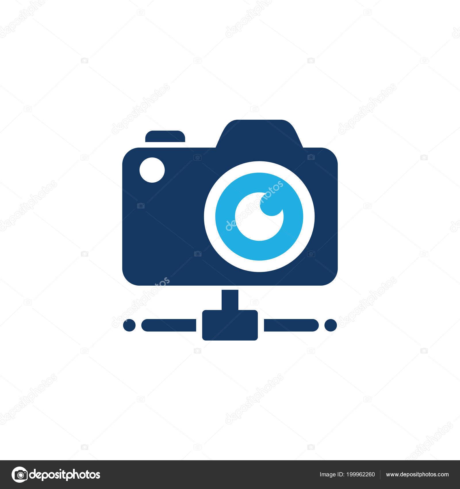camera server logo icon design ストックベクター putracetol