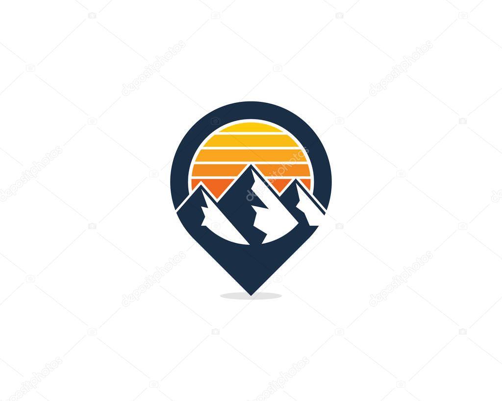 Mountain Pin Point Logo Icon Design