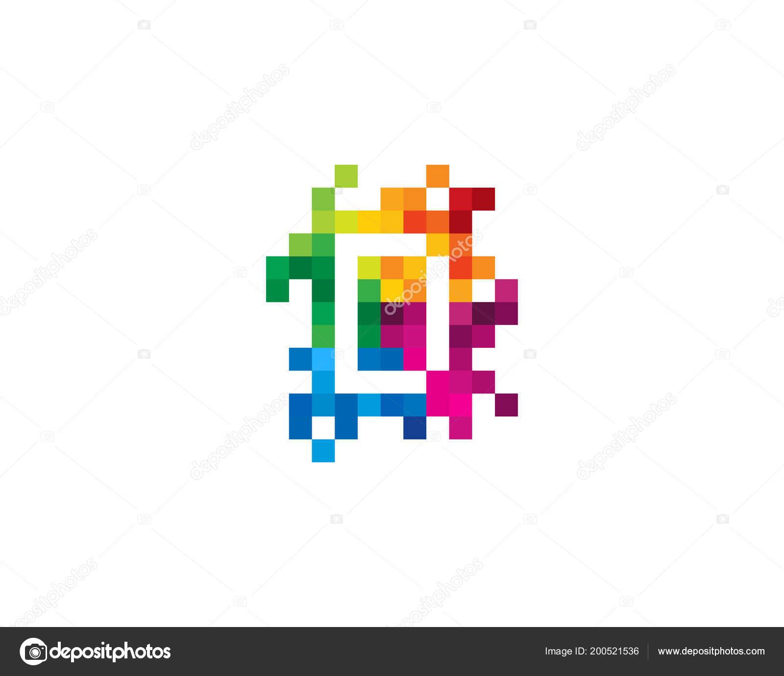 letter mosaic pixel icon logo design element — stock vector