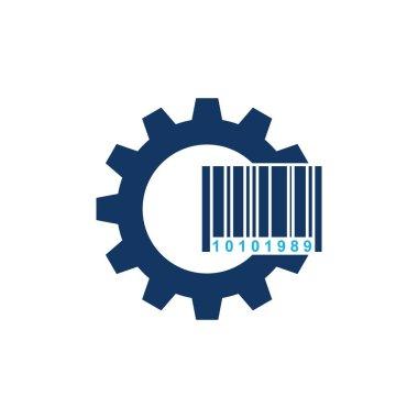 Barcode Gear Logo Icon Design