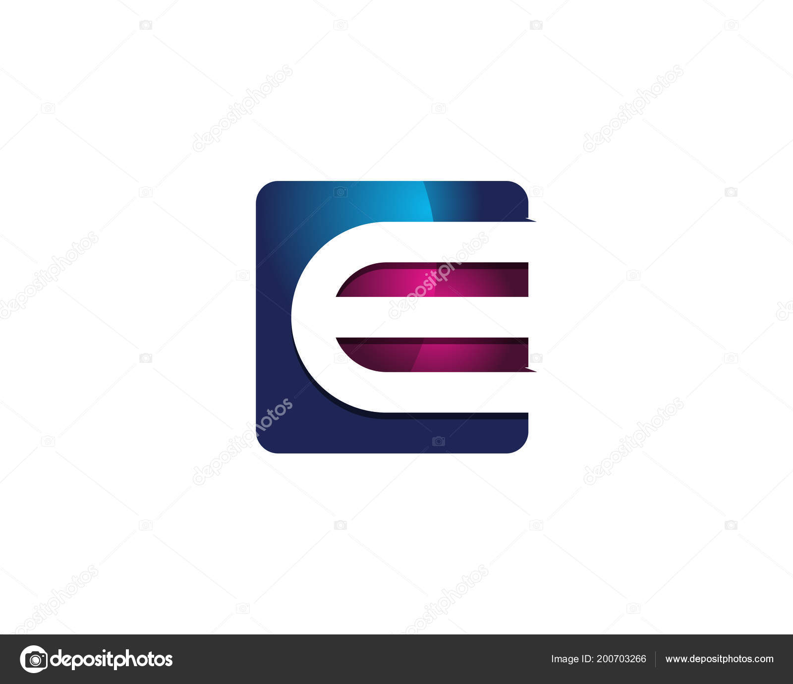 modern colorful letter square negative space logo design template