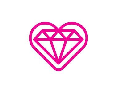 Love Diamond Logo Icon Design