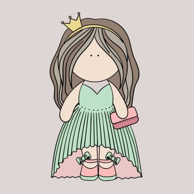 Little doll princess vector image