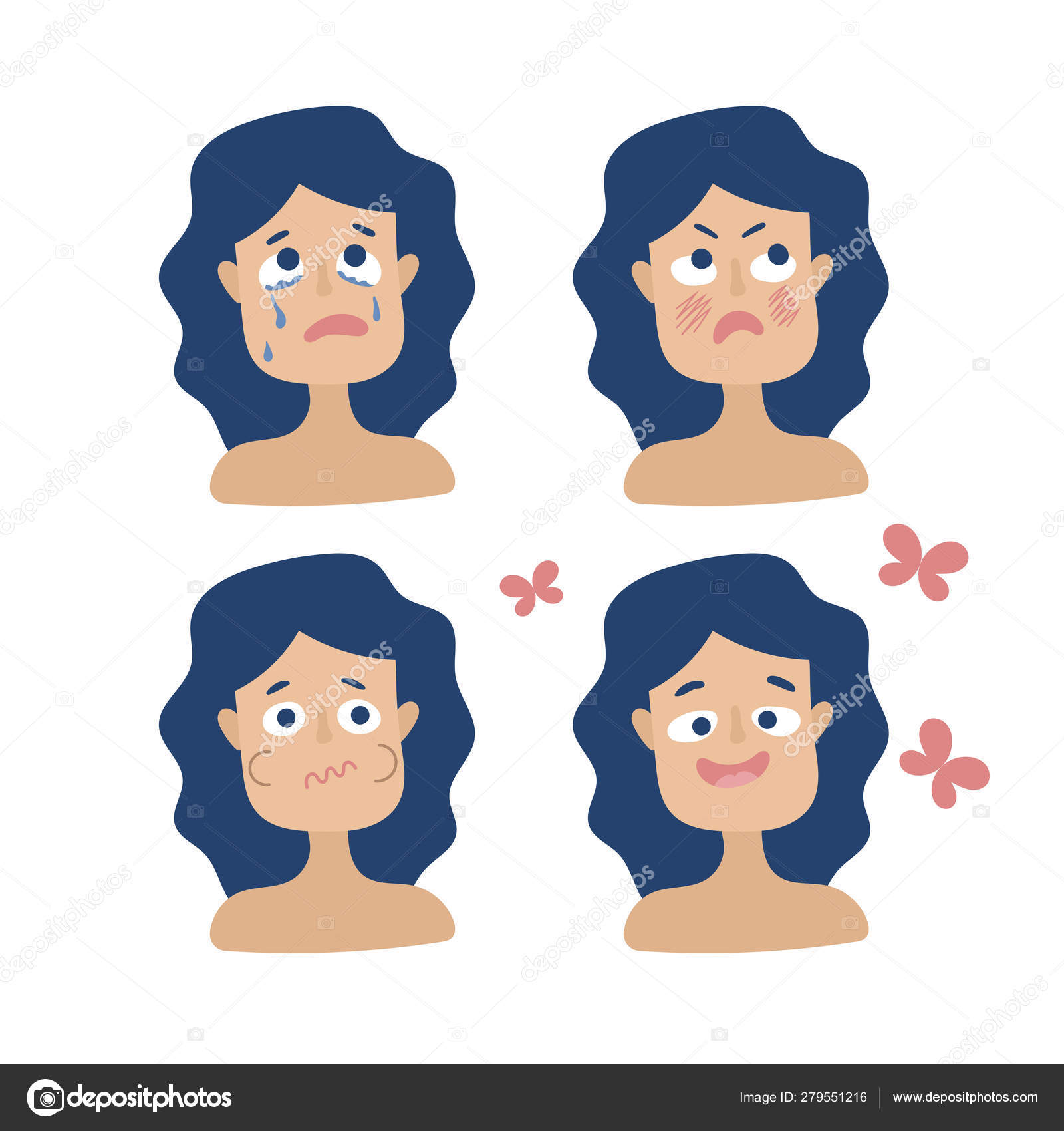 Different Emotions Pregnant Woman Anger Sadness Disgust Joy