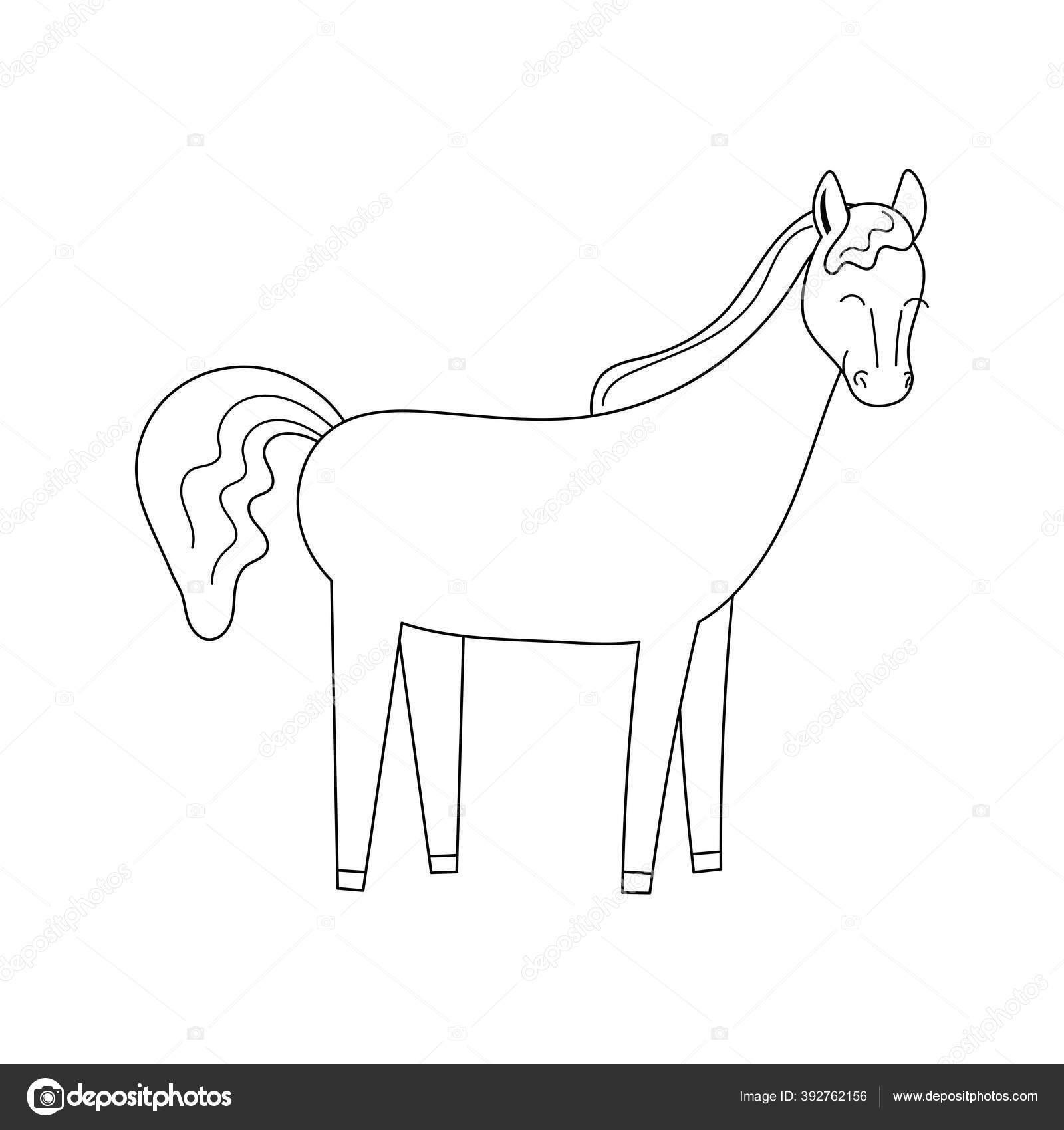 Cute Contour Doodle Horse Horseback Riding Illustration Childrens Coloring Book Stock Vector C Lisi Note Yandex Ru 392762156
