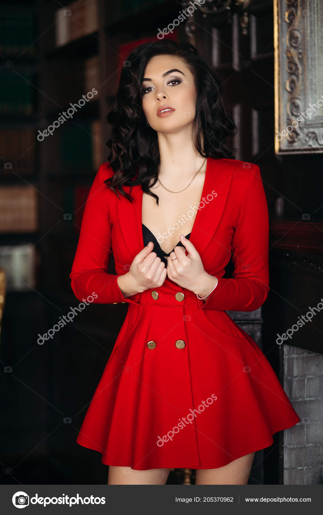 red dress undresiing touching her chest