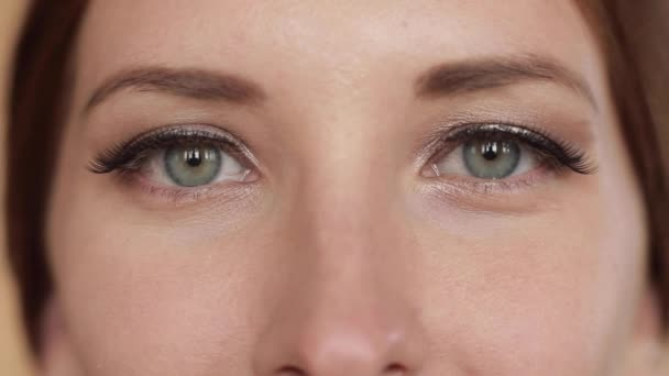 Pretty woman with make up and eyelashes looking at camera.